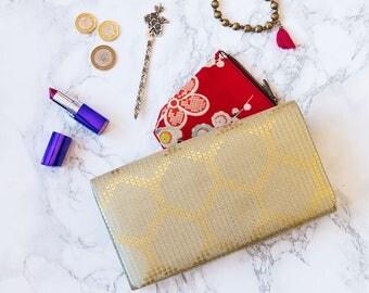 Gold Foldover Clutch, Metallic Folded Clutch Purse, Hexagon Ethnic Clutch, Vintage Kimono Bag, Vintage Evening Bag, Wedding Bags, Bride Gift