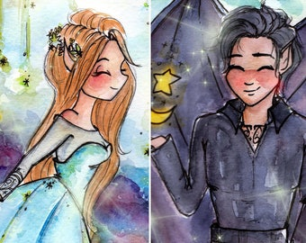 Print Feyre & Rhysand - Book art - ACOMAF Fandom -  Watercolor Art - Black Ink Painting -  Gift for Booknerds