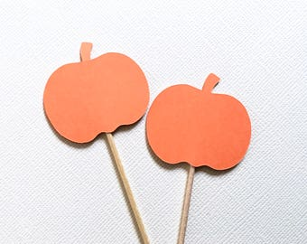 Little Pumpkin Baby Shower, 24 Pumpkin Cupcake Toppers, Party Decor, Double-Sided, Autumn, Fall, Halloween, Thanksgiving