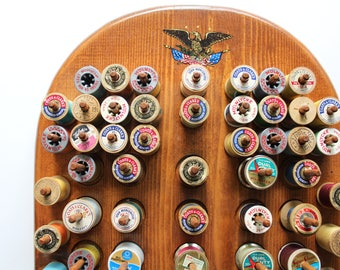 Vintage Large Wooden Sewing Thread Spool Rack With 71 Spools of Thread 1950s