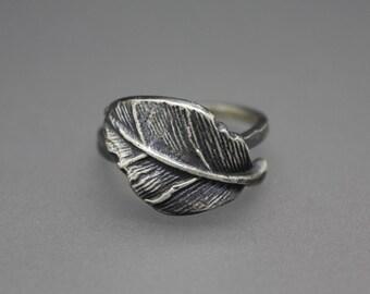 Leaf Ring, Leaf Jewelry, Silver Leaf, Silver Leaf Ring, Nature Jewelry, Feather Ring, Silver Leaves, Leaves Ring, Adjustable Silver