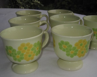 Franciscan Coffee Mug set, Set of 6, Flower Power, yellow and Green Daisy