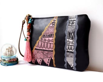 Black Leather Zippered Clutch Bag, Evening Clutch, Hand Painted Leather Clutch, Unique, Wristlet Leather Clutch, Ethnic Boho Leather Clutch