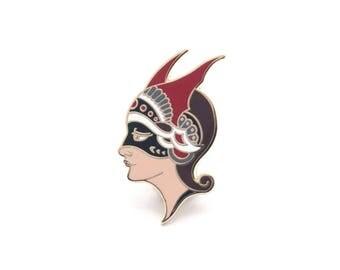 Masked Woman Enamel Pin - Kevin Poon Limited Edition Hard Enamel Pin Tattoo Lapel Pin Mask Pin Traditional Tattoo Pin Woman Pin Tattooed Pin
