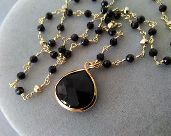 Black Onyx Beaded Chain Necklace