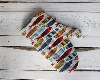 Kitchen glove with fish, Linen Glove for the cook or baker, Easter gift for him and her, kitchen decoration, gift for Mother, fisherman gift