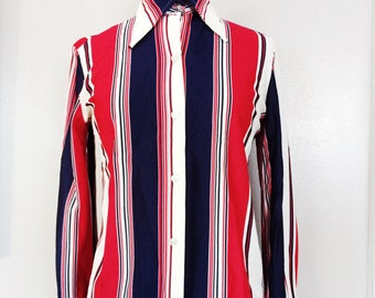70s DISCO Shirt // Striped RED white BLUE Blouse // Americana Polyester Big Collar Top