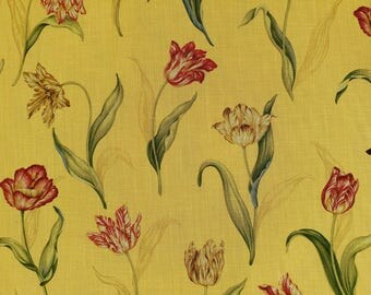 Colonial Williamsburg Palace Tulip, upholstery fabric/ drapery fabric, saffron yellow fabric, tulip pattern fabric, Waverly