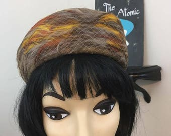 Autumn Feathers // 1960s Feather Hat in Fall Colors