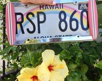 "Surfboard License Plate Frame ""Beach Bunny"" (Bubble Gum Pink/Tan/White stringer)"