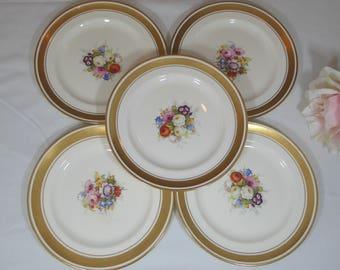"5 Pareek 8"" Lunch Plates Johnson Bros England, Five Floral Lunch Plates, Johnson Bros Floral Pareek 8"" Lunch Plates (ØF)"