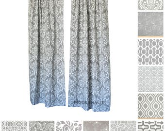 Window Curtains- Pair of Drapery Panels- Storm Grey Curtains- Designer Drapes- Add Grommets- Custom Curtains- Gray Drapes- Cafe Curtains