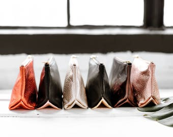 EMILY Leather Makeup Bag. Small Leather Pouch. Small Leather Clutch. Small Leather Bag. Leather Cosmetic Bag.