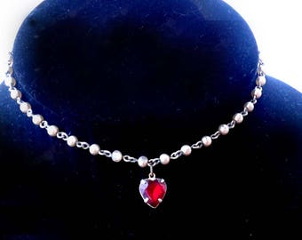 Child's Heart & Pearl Necklace Red Rhinestone 1940s Vintage