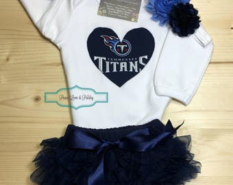 Tennessee Titans Bodysuit, Lace Diaper Cover and Headband Set Made from TN Titans Fabric, Titans Baby Outfit,Baby Girl Titans,Tennessee Baby