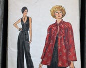 Vogue 9253 1970s 70s Hippie Boho Disco Sleeveless Jumpsuit Evening Jacket Vintage Sewing Pattern Size 14 Bust 36