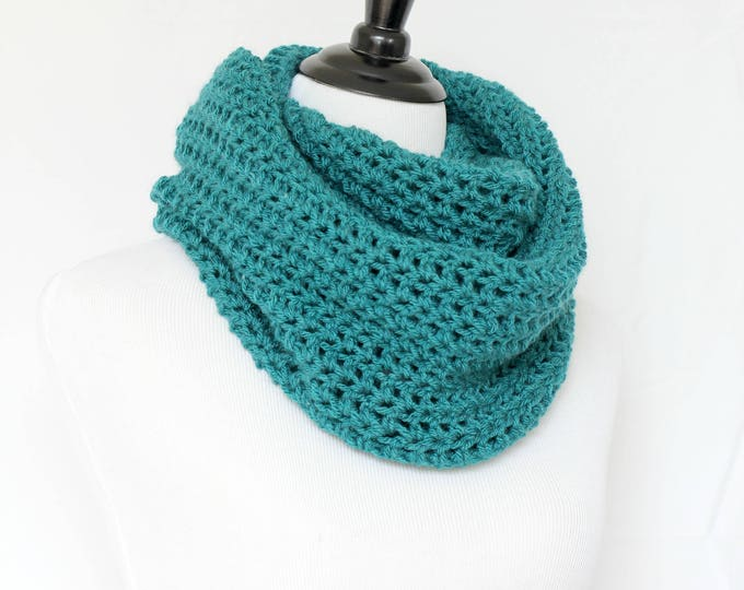 Crochet cowl, infinity scarf, knit cowl, large cowl, loop scarf, infinity loop, crochet scarf, teal cowl