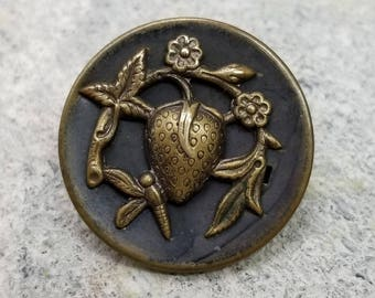Wonderful Antique Stamped Brass Picture Button ~ Strawberry Fruit with Flowers & Leaves Visited by Dragonfly Insect ~ 1-1/16 inch 27mm