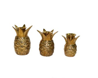 Vintage Brass Pineapple Candle Holders Brass Pineapple Candlestick Holders Set of 3 Pineapples Pineapple Candle Holder