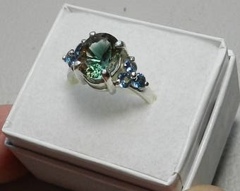 Oregon Sunstone and Montana sapphires , sterling silver ring    #317