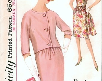 Lovely Vintage 1960s Simplicity 5390 Paris Fashion Slim Cocktail or Day Dress and Short Jacket Sewing Pattern B32