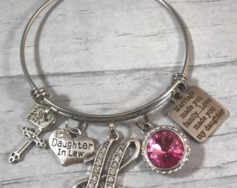 Daughter in Law Gift. Bracelet for Bride. Gift for Daughter in law. Gift from Mother in law. Marriage Made You Family. Love Made You My Daug