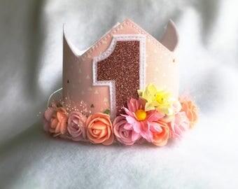 1st Birthday Flower Crown, Rose Gold and Pink Flower Wreath Photo Prop Baby Girls  First Birthday