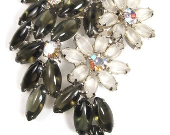 Vintage Large Lucite & Iridescent AB Rhinestone Flower Bouquet Floral Pin Brooch