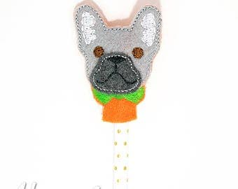 French Bulldog Pencil Topper Embroidery Design, french bulldog, pencil topper, machine embroidery, ITH, in the hoop, 4x4, ith embroidery
