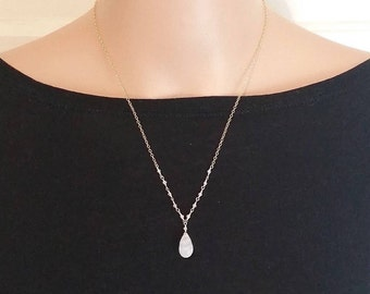 Moonstone Necklace, June Birthstone Necklace, white stone Necklace, Weddings, Gift For Her,