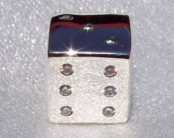 Pandora, Lucky Dice, Bracelet Charm, Las Vegas, Retired, Sterling Silver, CZ, 925 ALE, Roll The Dice, Gift Ideas, 791269CZ