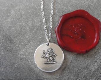 Rampant Griffin Wax Seal Necklace - Strength Courage Boldness - antique wax seal charm jewelry - Mythical Gryphon by RQP Studio