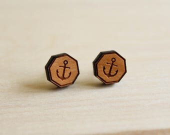 Anchor Earring Studs, Laser Cut Wood