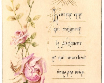 Antique French Holy Prayer Card Pink Roses & Flaming Heart, Sacred Heart Catholic from Vintage Paper Attic