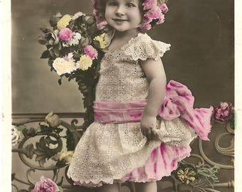 Cute Little Girl with Flower Bouquet Antique French Tinted Photo Postcard from Vintage Paper Attic