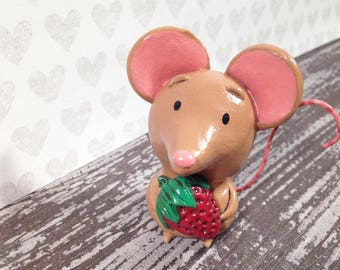 Strawberry Mouse Figurine - One of a Kind Art Sculpture