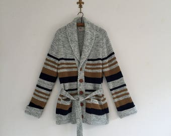 Vintage 70's Grandpa Striped Cardigan Sweater M