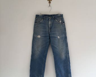 Vintage Faded and Worn Flannel Lined Wrangler Jeans 30