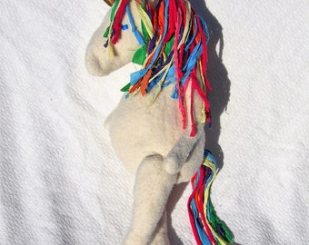 Baby Unicorn Toy, Organic Stuffed Animal Doll, GOTS Certified Organic Cotton, Peace Silk Ribbon Mane & Tail, Design Your Own!