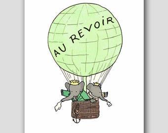 "Green Nursery Wall Art (Boy Baby Room Decor, Girls First Birthday Gift) ""Hot Air Balloon"" -- Babar the Elephant Print"