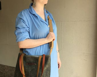 Mary Jane waxed canvas and leather tote