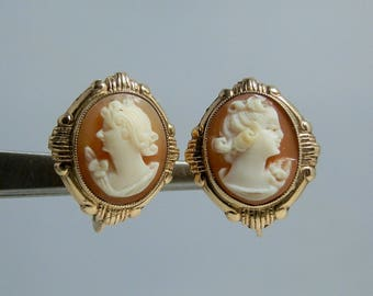 Antique 10k Yellow Gold Carved Shell Cameo Earrings Screw Back Style Nice Quality Carvings and Settings DanPickedMinerals