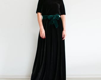 VELVET maxi skirt/ black maxi skirt/ long skirt/ women skirt/ floor length skirt/ plus size skirt/ high waist skirt/ elegant evening dress
