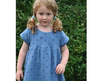 Girl Baby Girl Dress sewing pattern Pdf, BLUE TIT Woven Dress, Short and Long Sleeve, Toddler dress, newborn dress 0 - 10 years