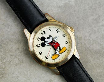 Vintage Mickey Mouse Quartz Watch with Black Leather Strap