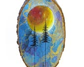 Tree wood sign, starry night sky, bohemian art, full moon art, forest at night, nature painting, colorful art on wood: RESERVED for Jess