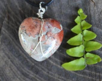 Jasper Heart Necklace, Heart Necklace, Autumn Accessories, Peach Stone Necklace, Puff Heart Necklace, Long Chain and Stone, Christmas Gift