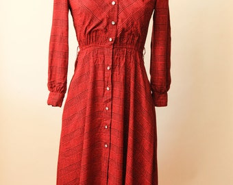 VTG Red Button Down Dress | Black and Red Gingham Dress | California Girl by Petrina Aberle | Fall Midi Dress | Designer Collared Dress