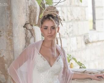 Bridal cover up etsy pale pink bridal bolero wedding versatile shawl shawl shrug crisscross and scarf junglespirit Image collections