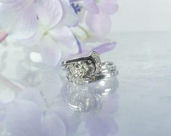 Herkimer Diamond Ring, Gemstone Wedding Set, Sterling Wedding Set, Unique Wedding Set, Handmade Wedding Set, Diamond Alternative